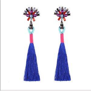 Jewelry - Crystal Rhinestone Tassel Earrings (blue)